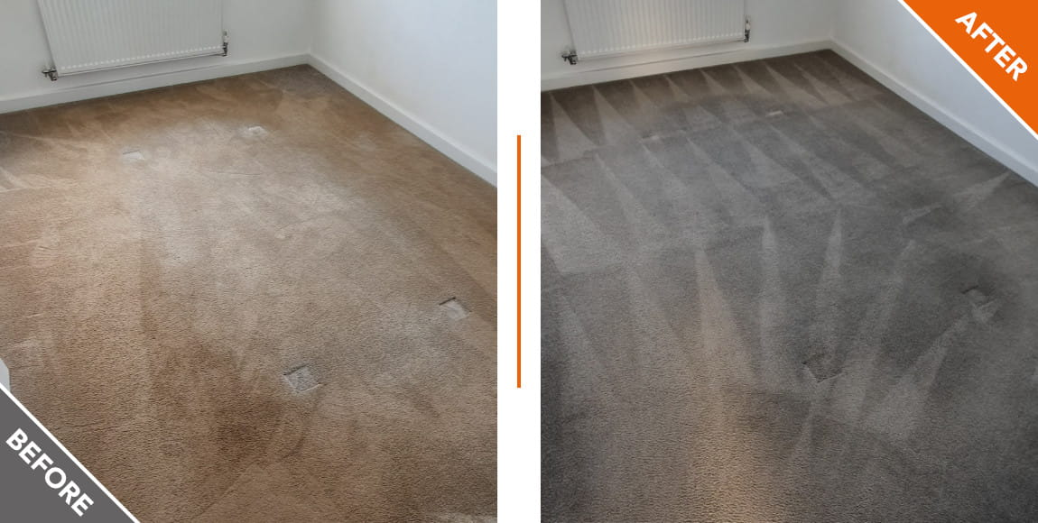 Grey carpet before and after a carpet clean