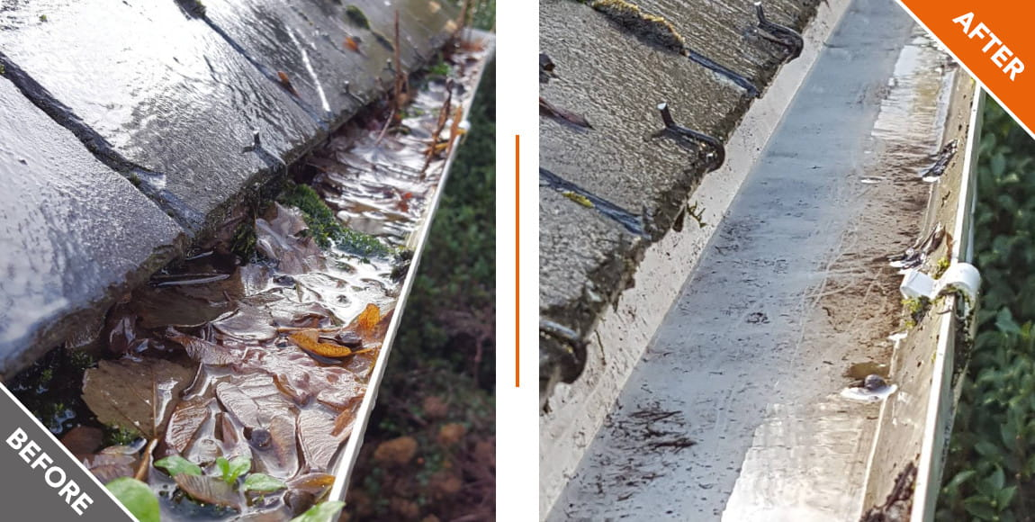 Gutter vaccuming, before and after