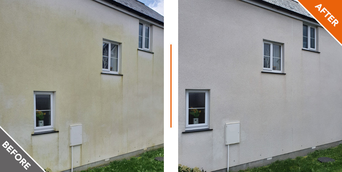 House exterior, before and after a softwash